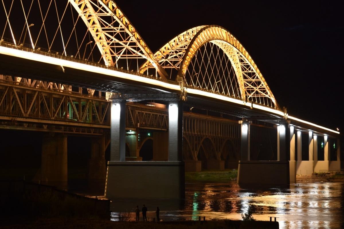 Освещение нового Борского моста в Нижнем Новгороде